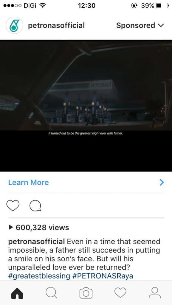 An example of Instagram adverts, by Petronas. Pic: Instagram