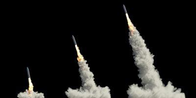 ballistic launch rocket isolated on black