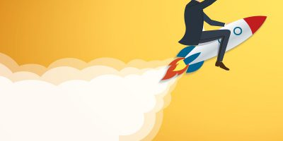 Businessman Flying with a Rocket to Success