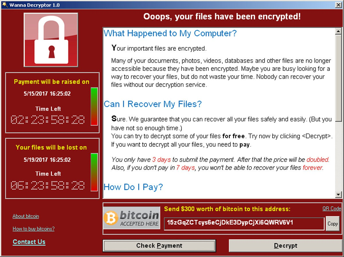 wannacry ransomeware screenshot