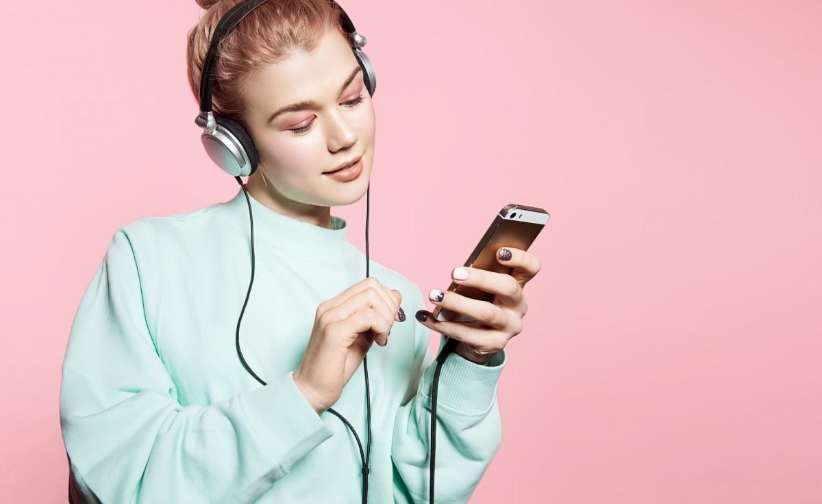 woman headphones audio