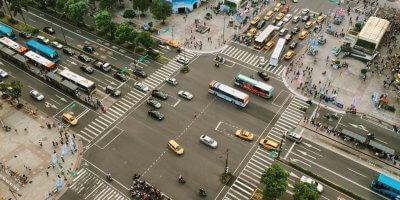city new york aeriel view of traffic