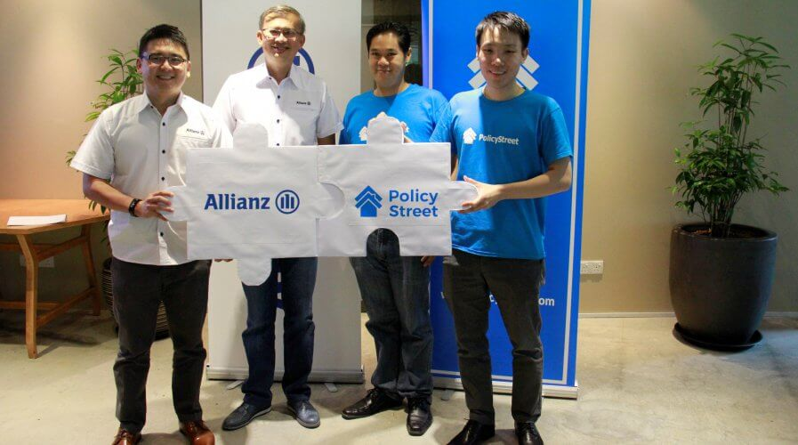 Allianz executive with PolicyStreet founders at the partnership announcements
