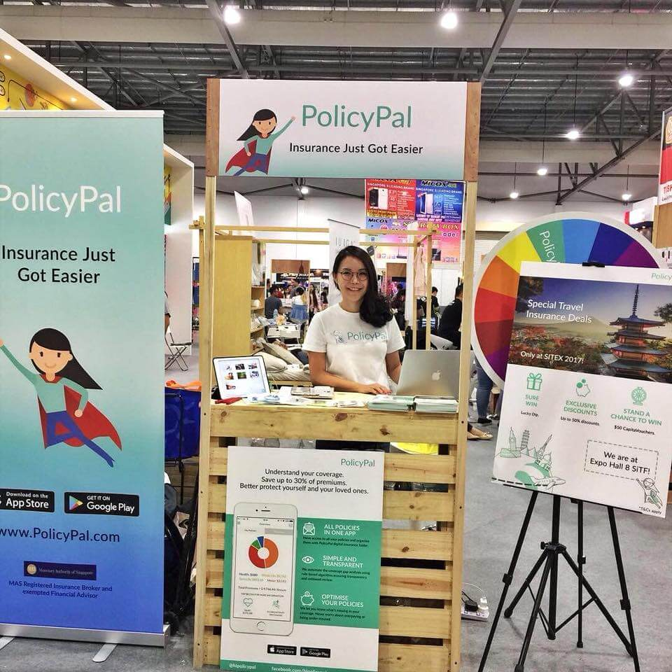 policypal founder standing at a policypal booth