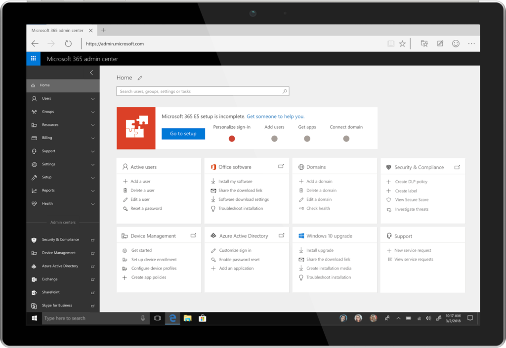 The Microsoft 365 admin center.