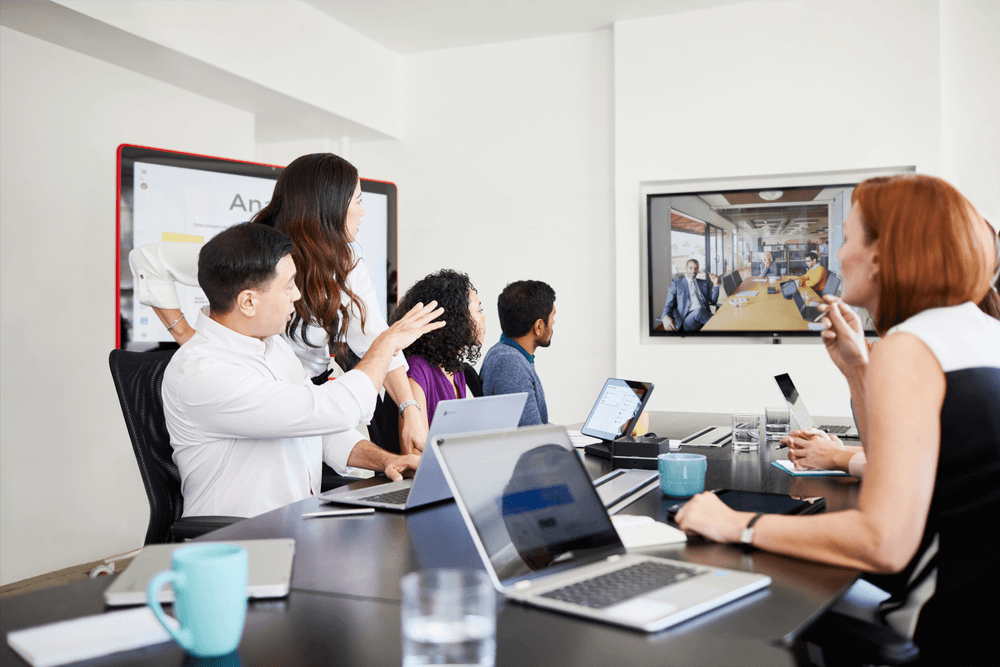 a team having meeting through video conferencing