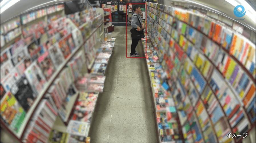 a screenshot of an AI identifying a shoplifter in a bookstore