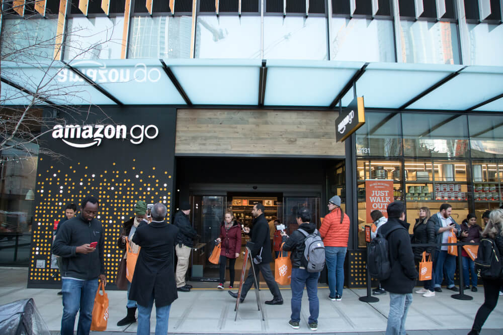 the shopfront of Amazon Go in Seattle