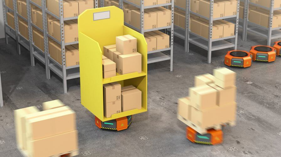 robots working in an amazon fulfillment centre