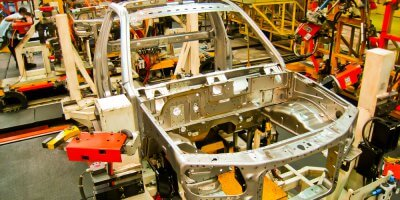 a automotive manufacturing plant using robotics