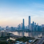 the guangzhou skyline (guangzhou is the capital city of guangdong)
