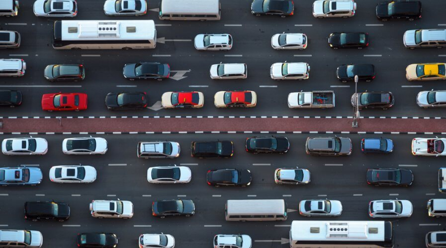 a bird's eye view of a traffic jam