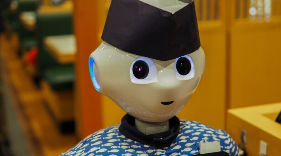 a robot waiter in a japanese restaurant