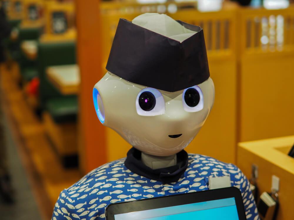 a robot waiter in a japanese restaurant