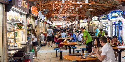 a hawker center in singapore