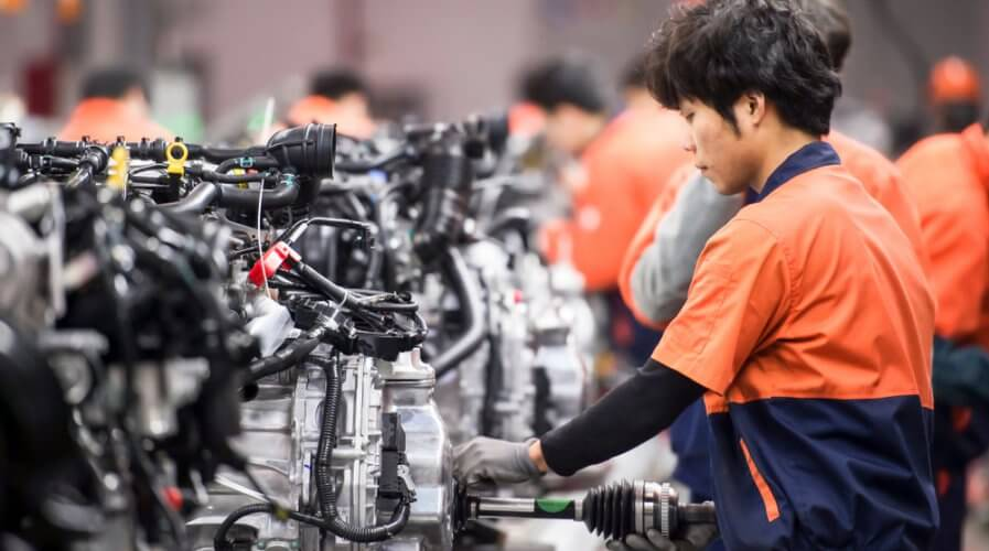 a factory worker in a production line