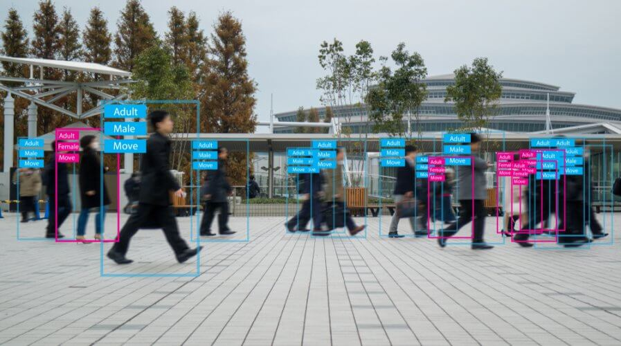 an AI computer system automatically recognizing and identifying people on the streets