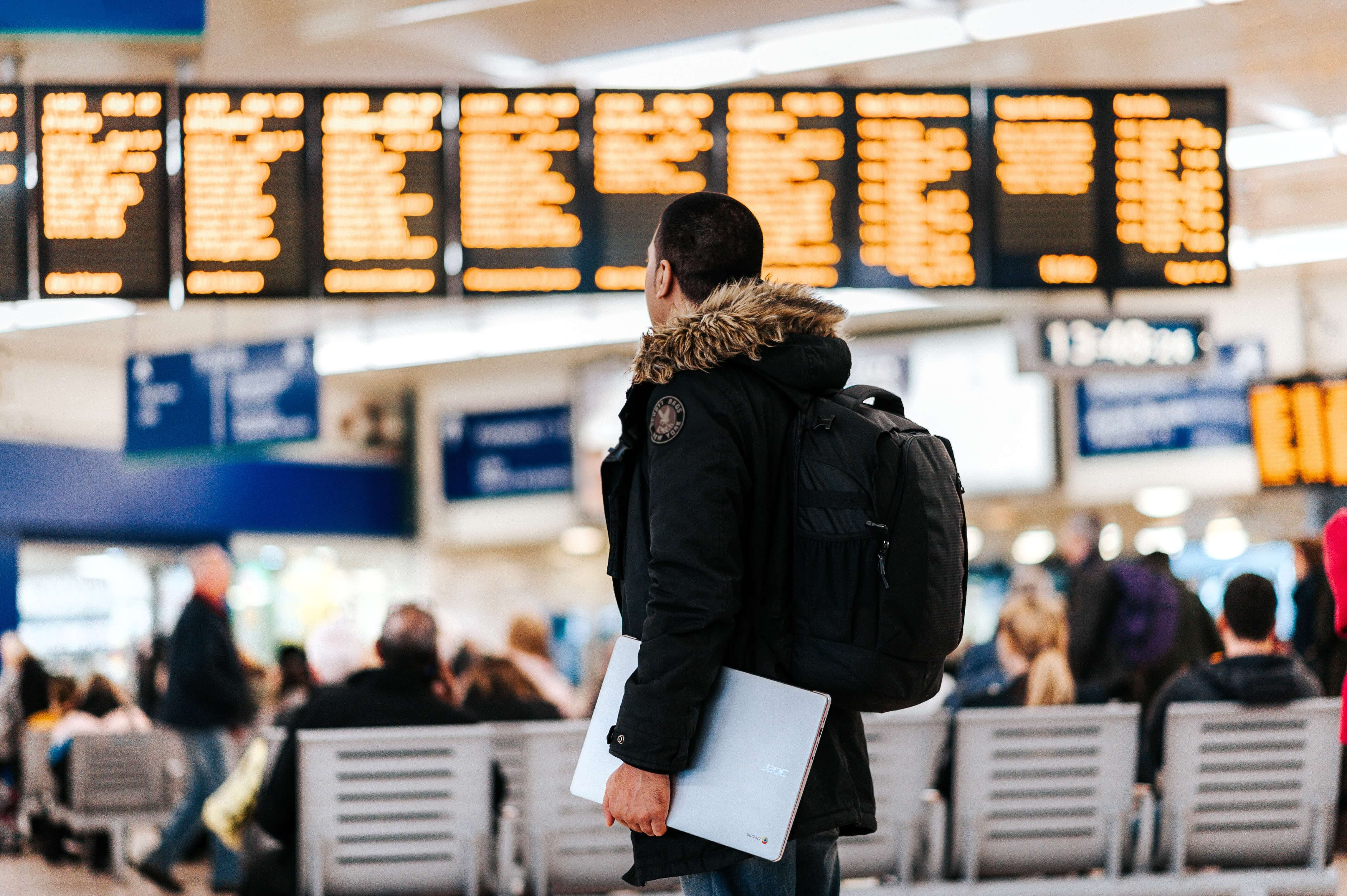 a traveller in an airport
