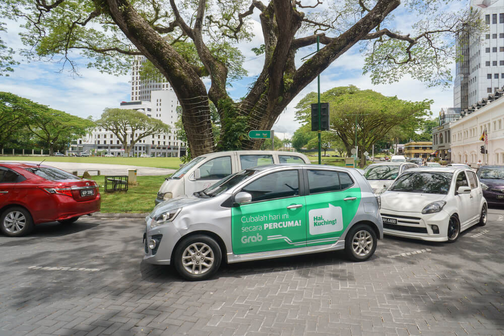 a grab car on the streets
