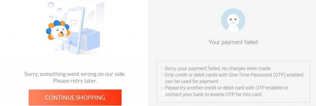 Payment gateway error messages from Lazada and Shopee. Source: iPrice