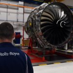 Rolls Royce Trent XWB engines on view on the assembly line at the Rolls Royce factory Source: Paul Ellis / POOL / AFP