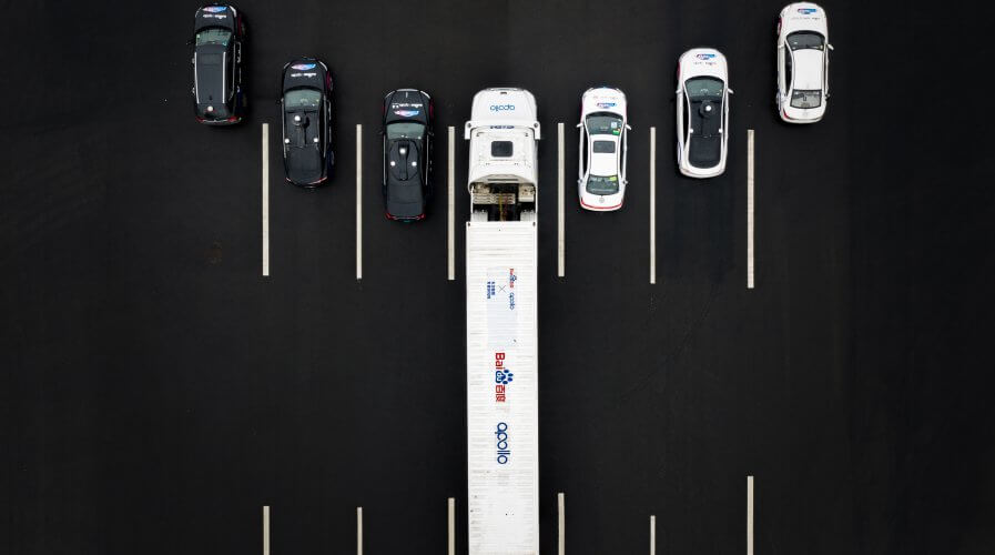 A fleet of Baidu's autonomous vehicles on a highway in China. Source: Baidu
