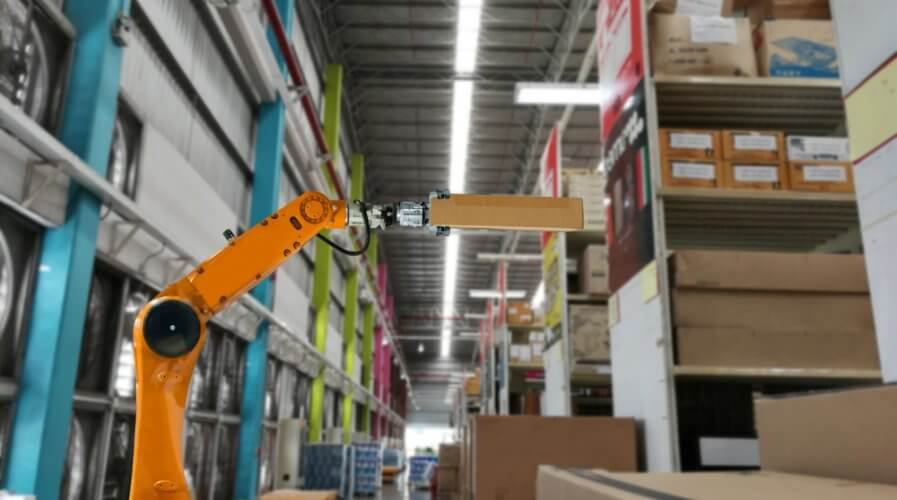 Robotics used to transport parcels around warehouses. Source: Shutterstock