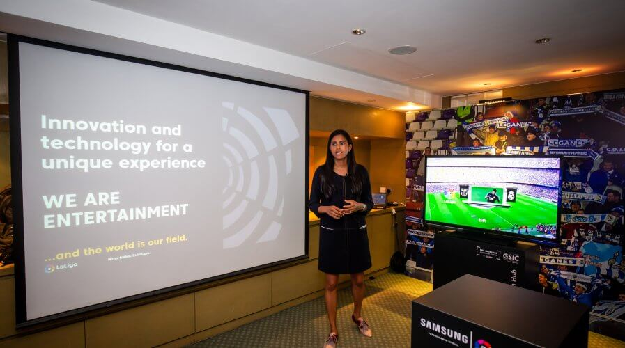 LaLiga Innovation and Global Development Director Minerva Santana during a presentation at RISE 2019 Conference. Source: LaLiga
