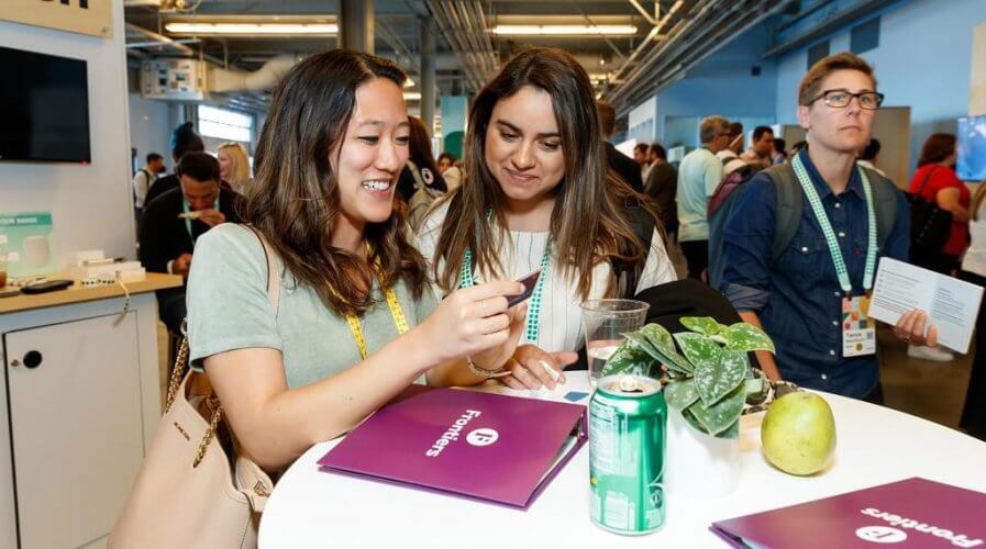 Delegates at Slack's annual conference last year interacting with the company's staff. Source: LinkedIn/Slack