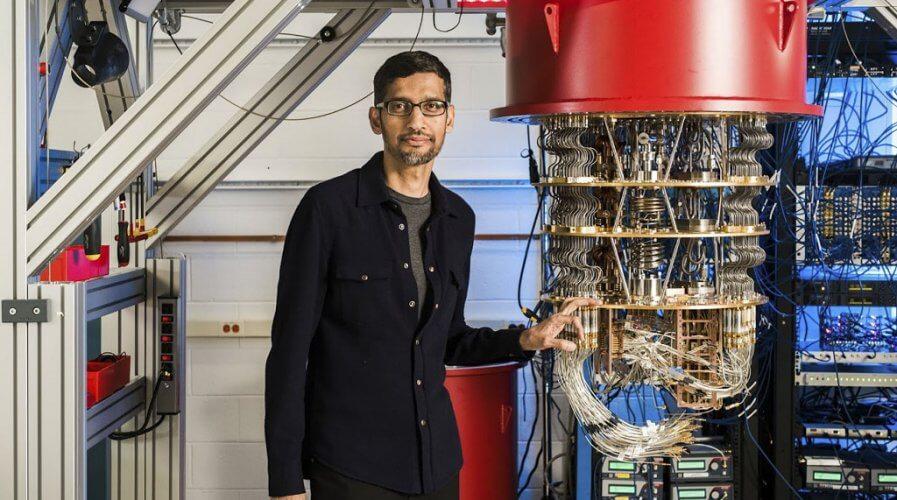 Sundar Pichai, CEO of Alphabet with one of Google's quantum computers.