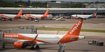 EasyJet aircraft grounded at Manchester Airport